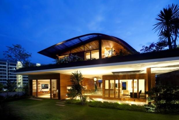 maison écologique skygarden de soir