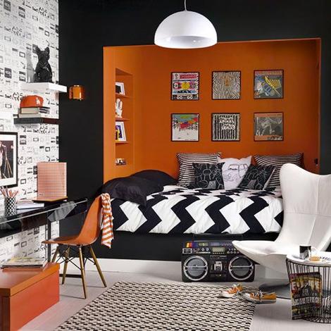 chambre orange et noir