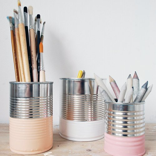 pot à crayons en conserve