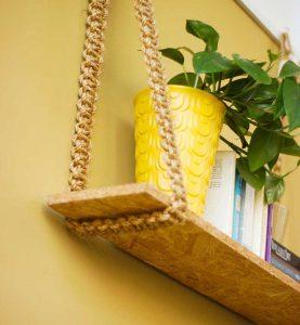 tablette bois recycle avec plante