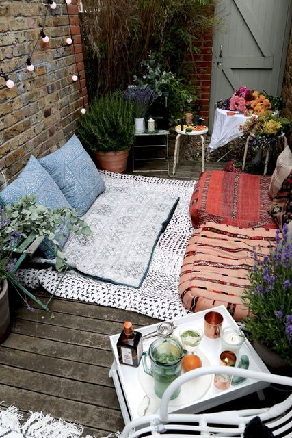 tapis et coussin terrasse