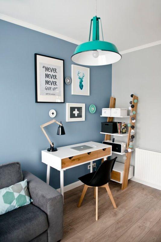 espace travail turquoise et bleu