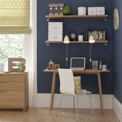bureau mur bleu fonce