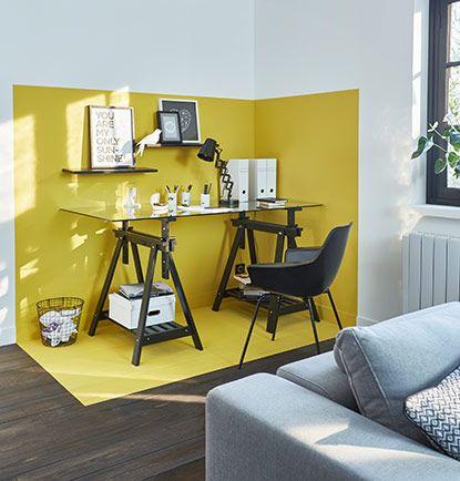 bureau mur jaune