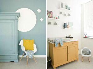 chambre bébé garçon bleu gris avec du jaune