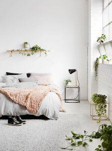 chambre blanche et plantes vertes