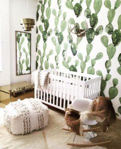 murale de cactus pour la décor de chambre bébé garçon