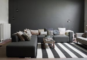 tendance couleur 2018 salon gris foncé