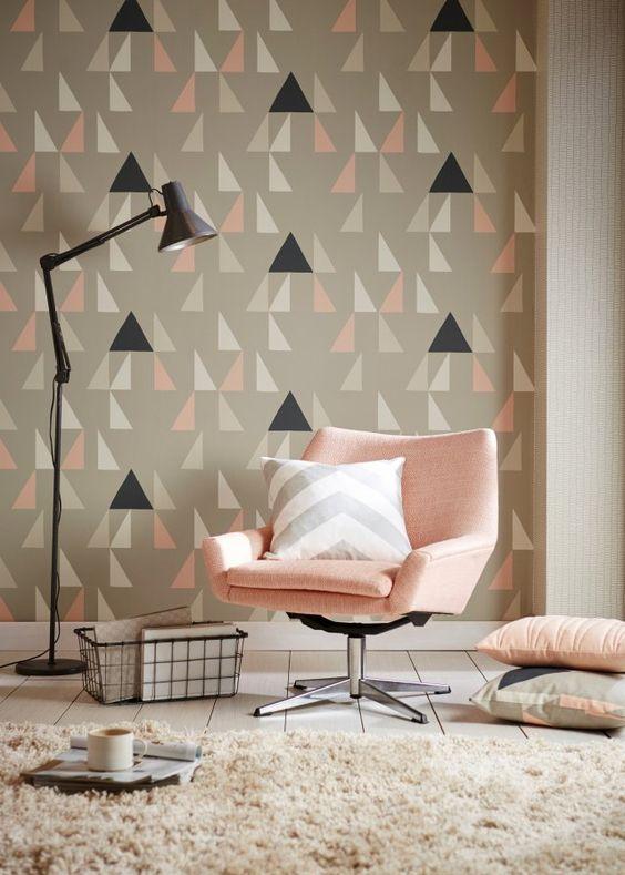 papier peint geometrique pastel