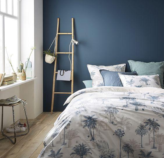 peinture bleu mur chambre