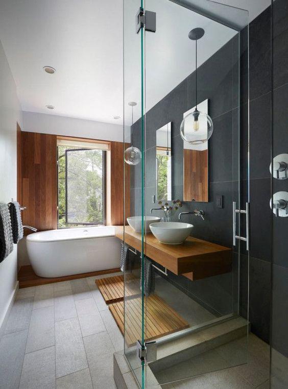 tuile ceramique grise salle de bain