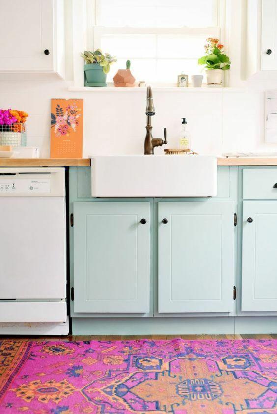 armoires repeintes cuisine