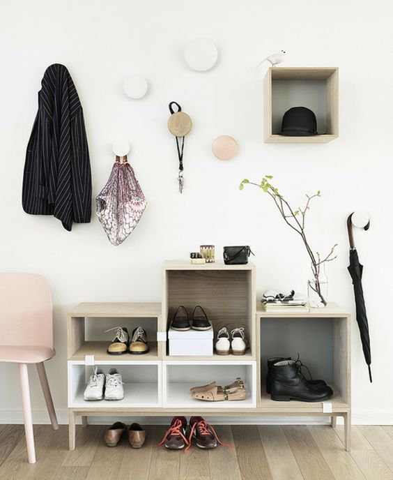 meuble de rangement en bois pour souliers
