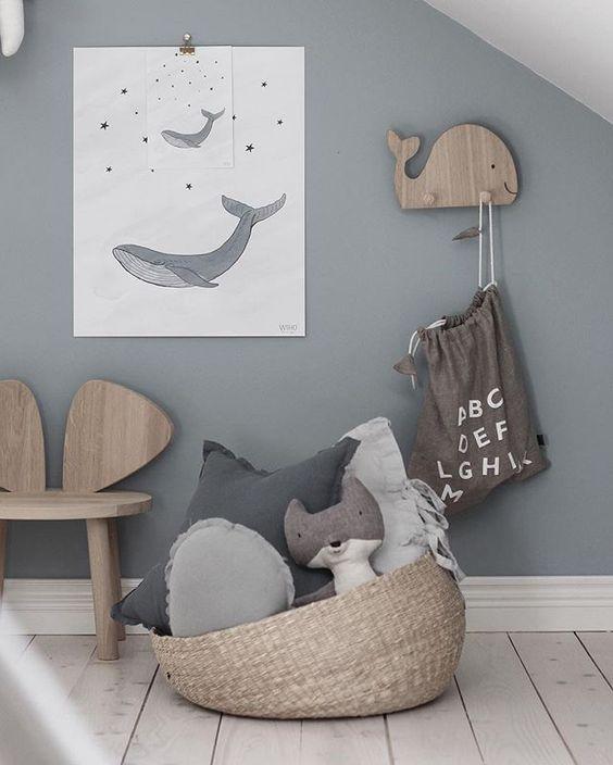 mur bleu gris chambre de bebe