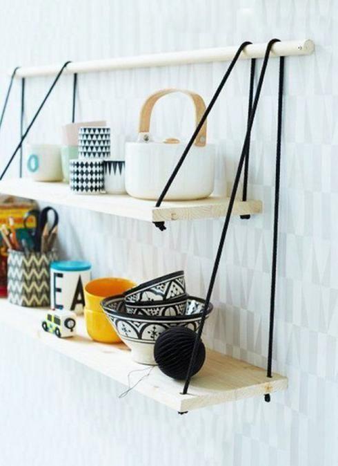tablette en bois mur de cuisine