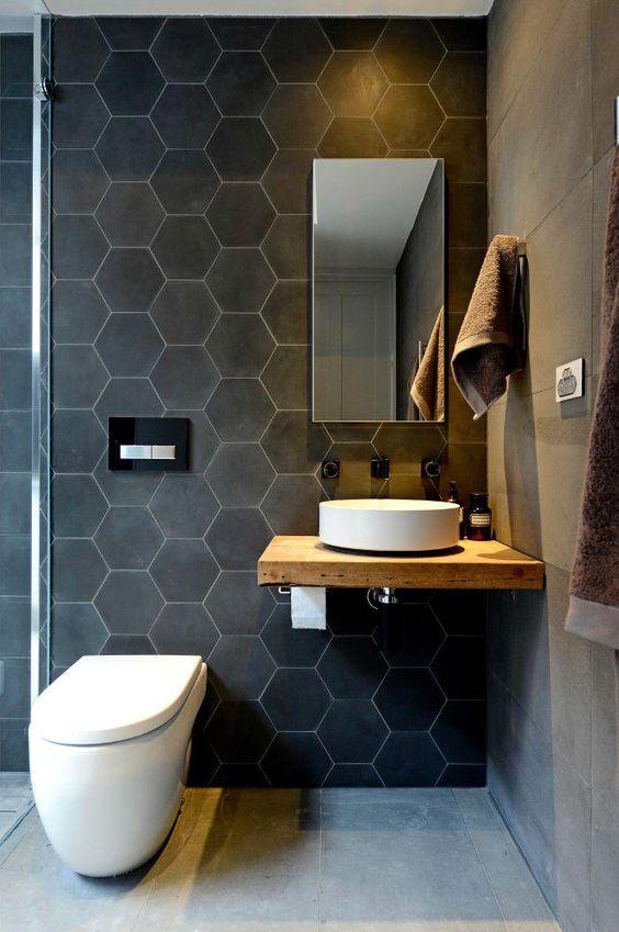 évier salle de bain sur tablette bois