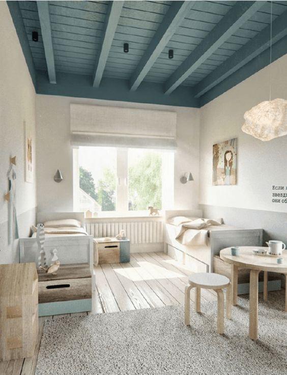 plafond de bosi peinture bleu vert
