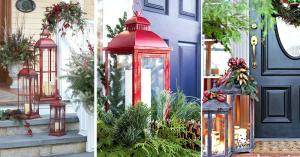 des lanternes rouges posé à l'extérieur comme décoration de Noël