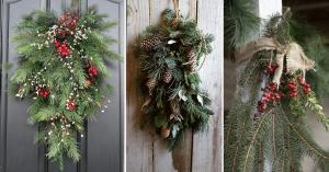des branches de conifers sur la porte