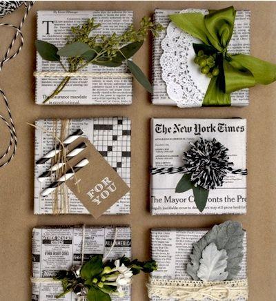 emballage noel avec papier journal