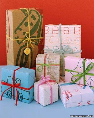 emballage cadeau avec dessin enfant