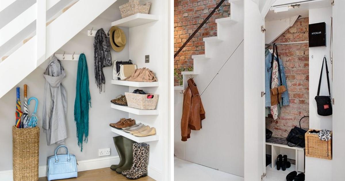 rangement accessoires exterieurs sous escalier