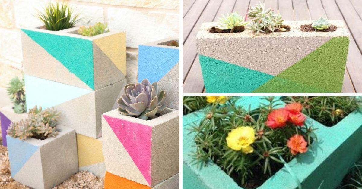 pot a fleurs avec bloc de ciment