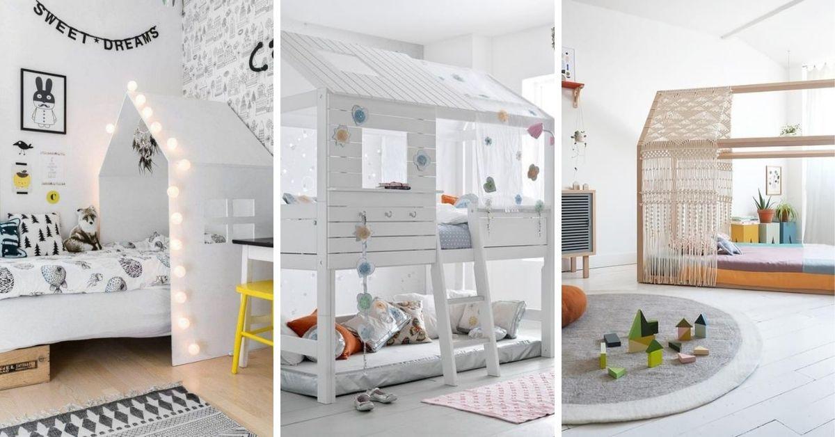 lit cabane en bois pour enfant