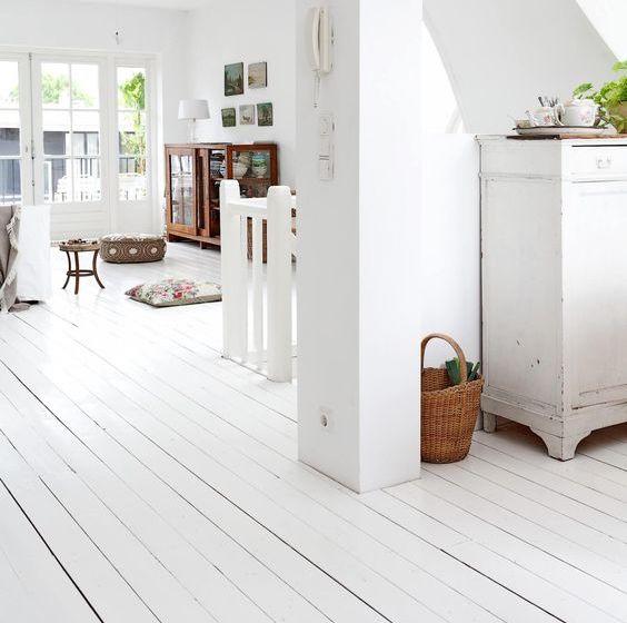 peinture plancher bois blanc
