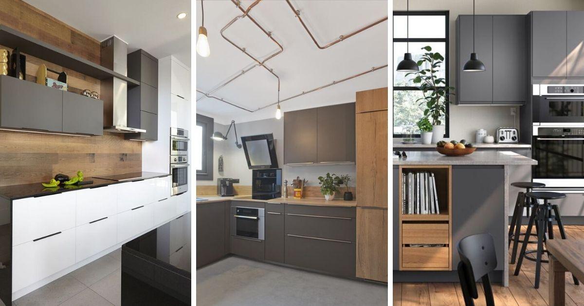 armoires de cuisine grises
