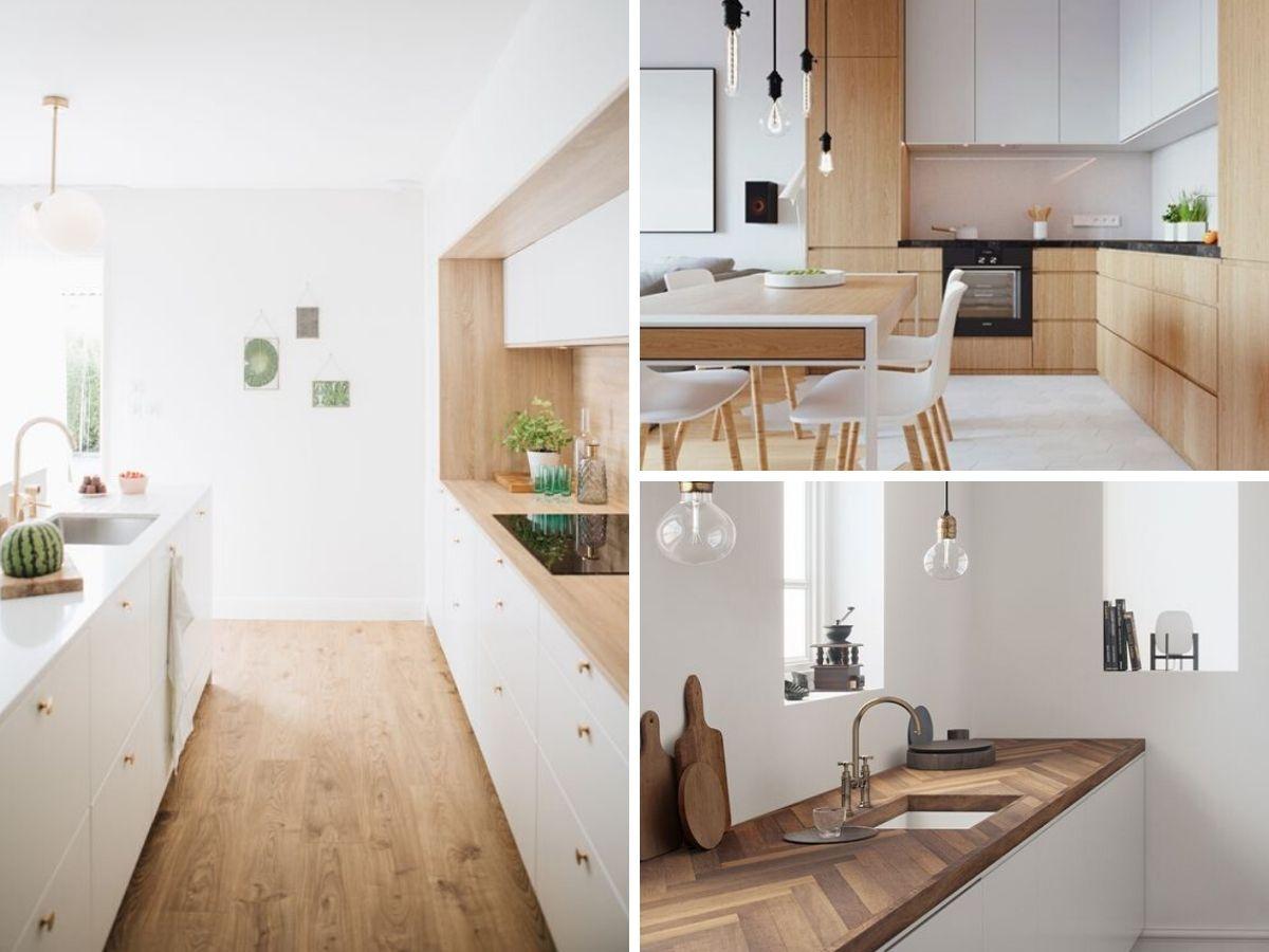 cuisine blanche avec comptoir ou armoires bois