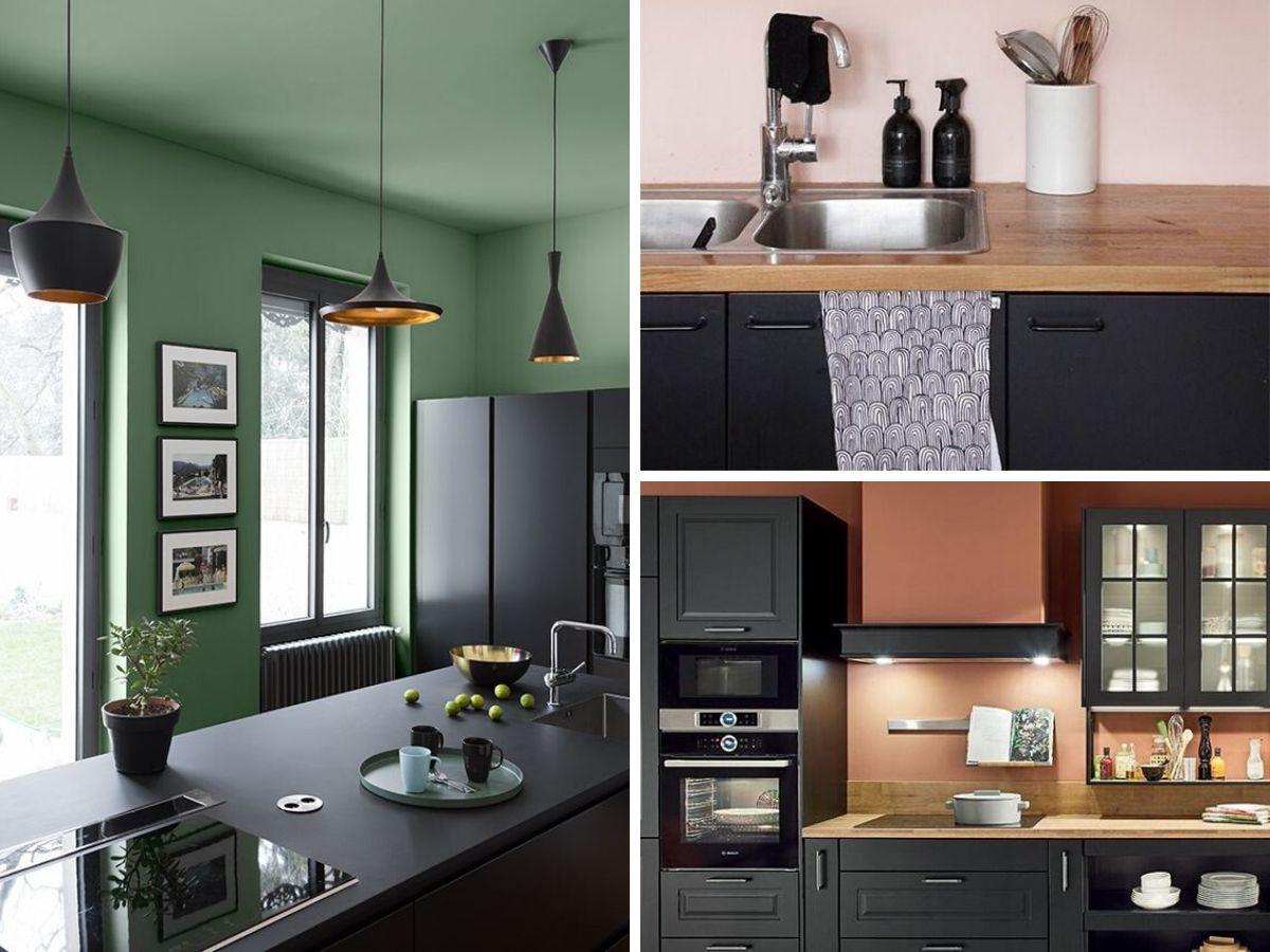 cuisine noire avec accent de couleurs