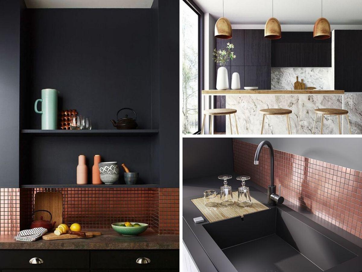 cuisine noire avec accessoires dores