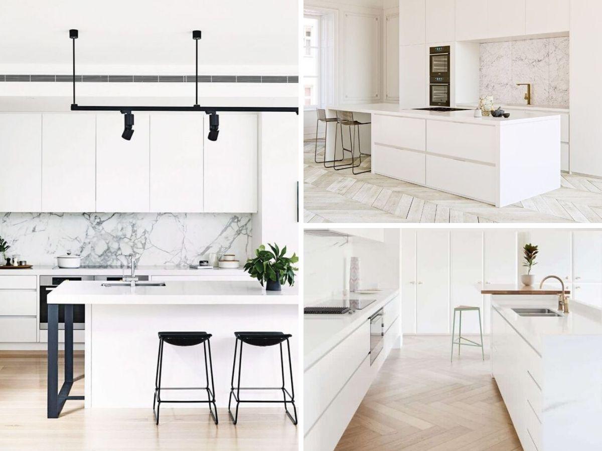cuisine blanche moderne avec marbre