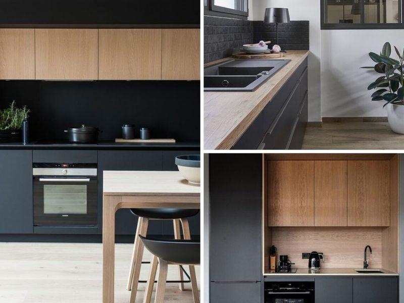 cuisine noire avec armoires et comptoir bois