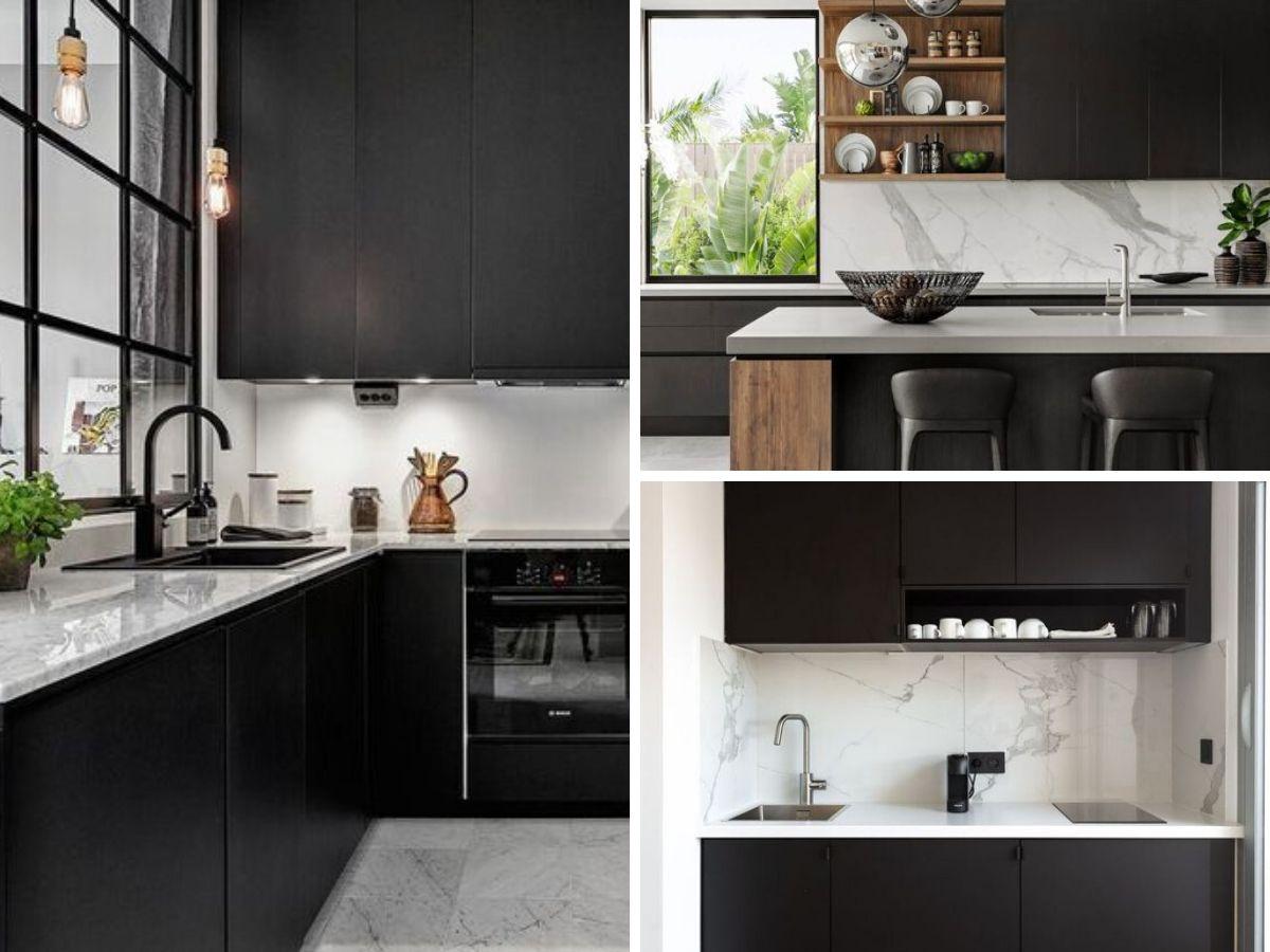 cuisine noire avec comptoir et dosseret marbre