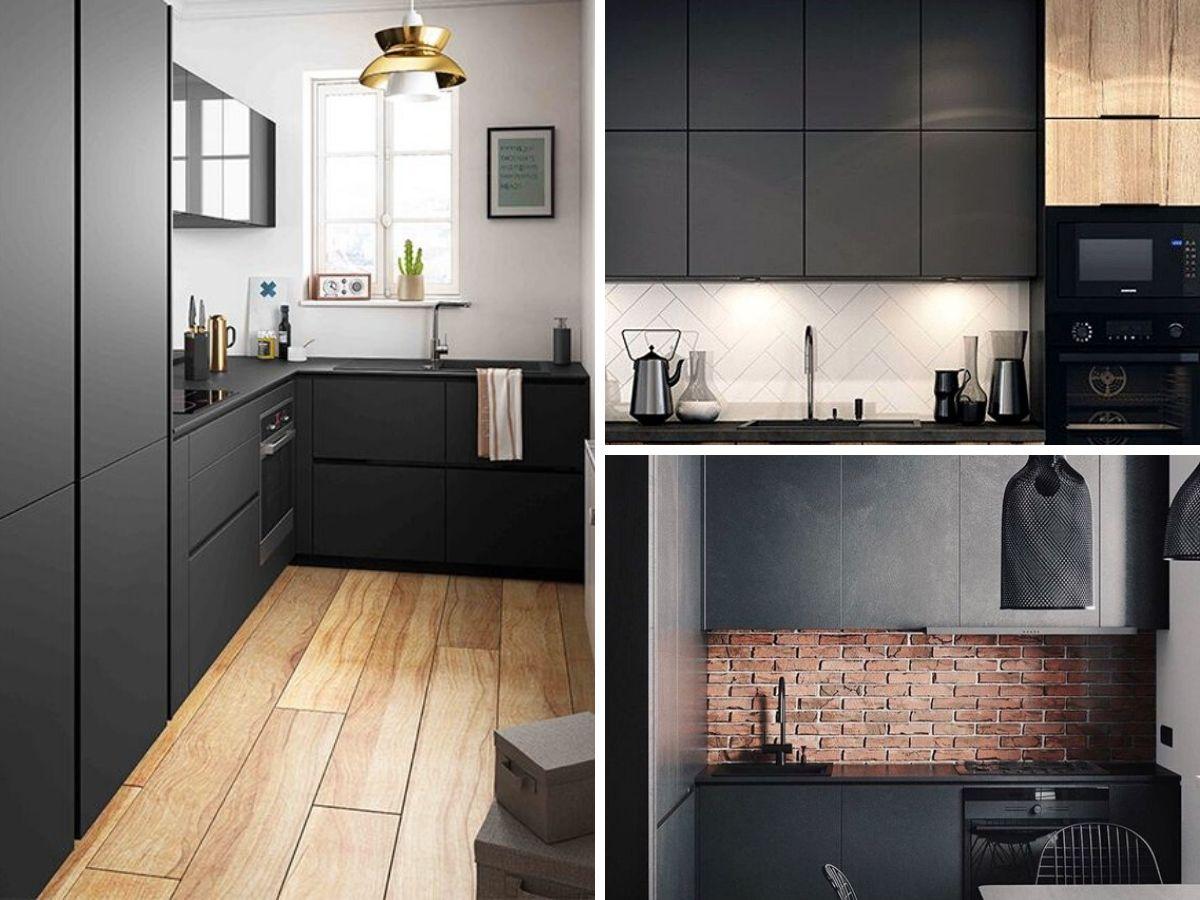cuisine noire avec armoires noires