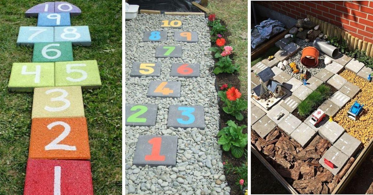 diy jeux enfants avec dalles ciment