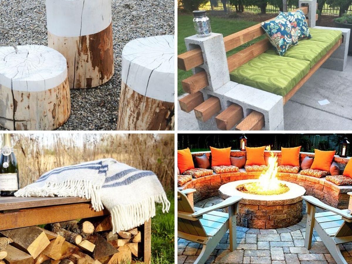 chaises et bancs pour coin feu exterieur
