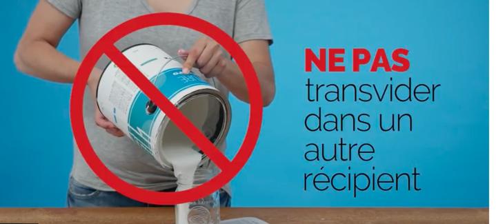 Ne pas transvider peinture