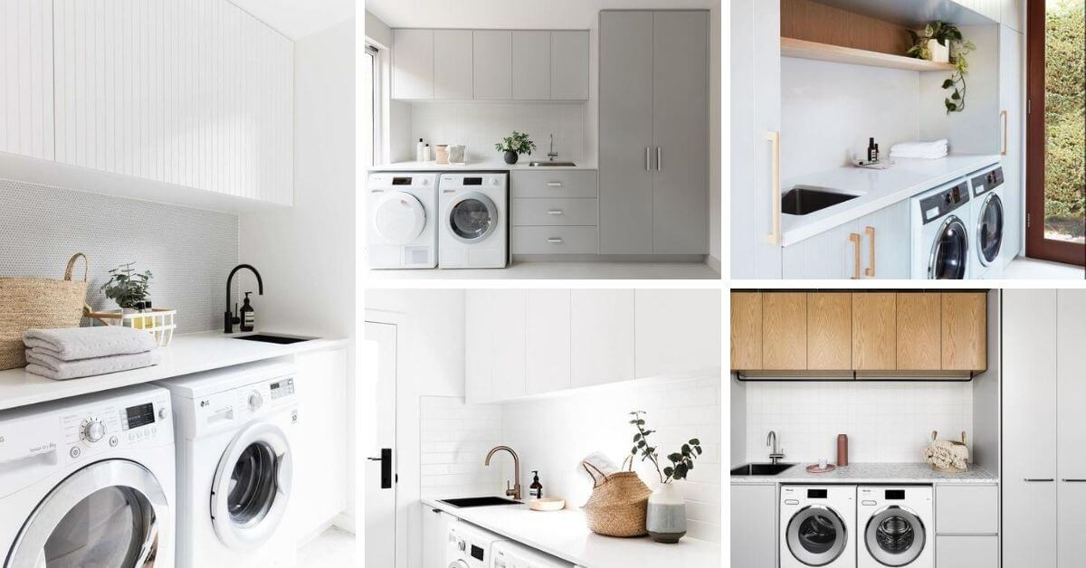 salle de lavage amenager avec armoires et tablettes