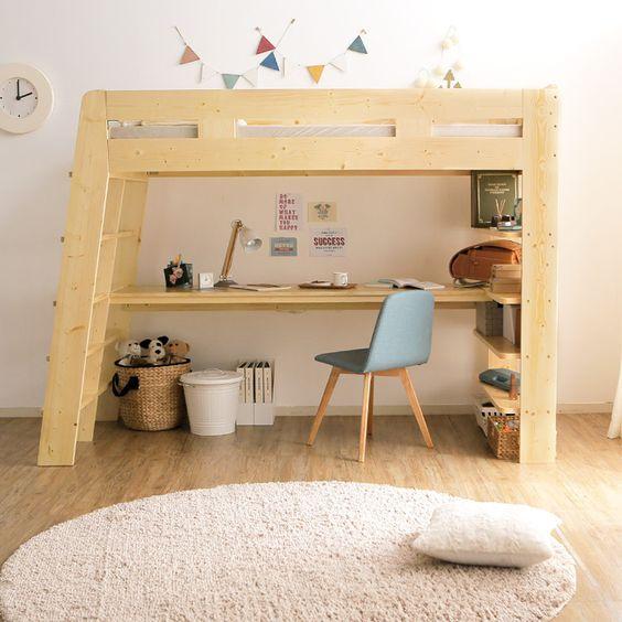 lit mezzanine avec bureau pour enfants dessous
