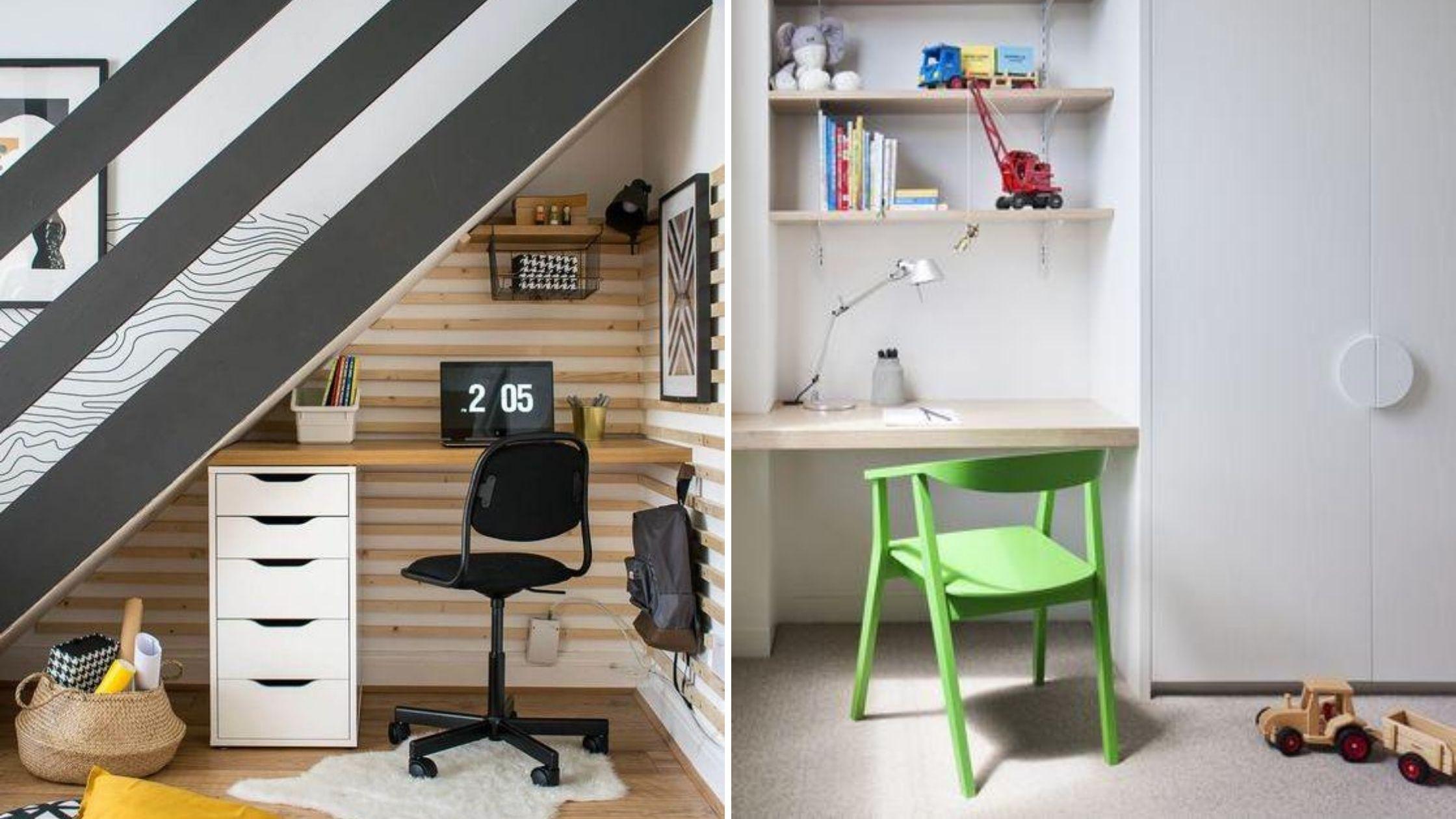 aménagement bureau dans garde-robe et sous les escaliers