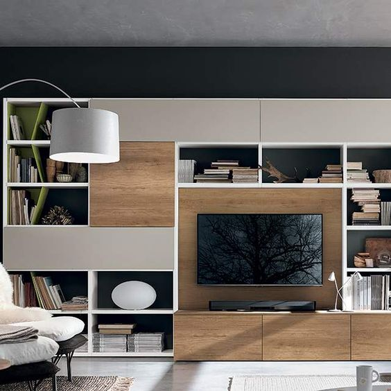 bibliotheque integre bois television