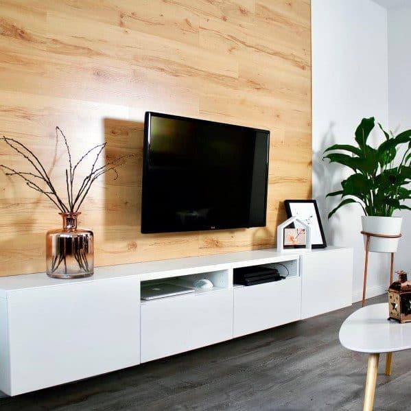 plancher de bois sur le mur pour coin tv