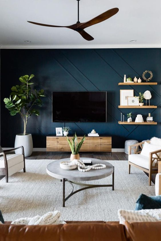 mur vert accent pour coin tv