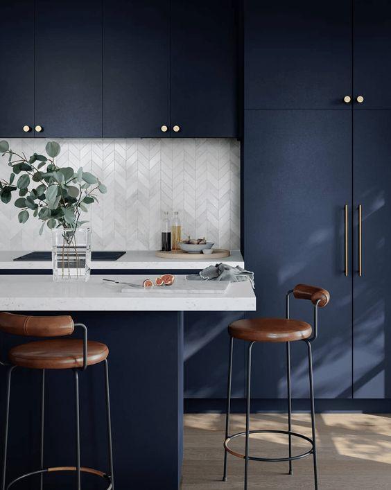 armoire cuisine bleu fonce