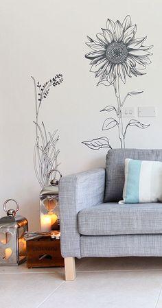 mur dessin fleurs
