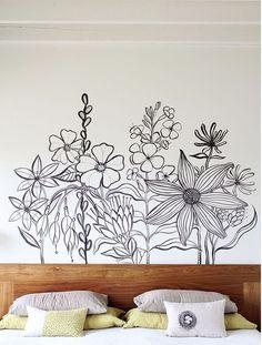 mur avec dessin floral