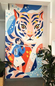 mur avec dessin mural